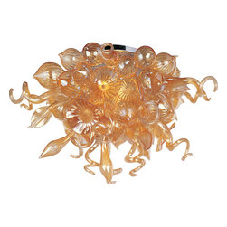 Maxim Lighting - Mimi Semi Flush Mount - Mimi Semi Flush Mount features a bouquet of hand formed flowers and buds of glass in Cognac, Fume, Sunrise and Root Beer colors with Polished Chrome finish.  Available in a semi flush ceiling and chandelier version.  Includes twelve 1 watt dimmable LEDs, 966 lumens.  34 inches wide x 21 inches high.
