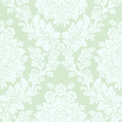 Brewster Home Fashions - Liza Blue Roselle Damask Wallpaper. - Adorn your walls in the colors of the ocean with this serene damask printed wallpaper. A floating floral pattern eases its way into a magnificent design full of depth and grandeur.