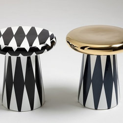 T Table - I love these stools/tabless by Jamie Hayon for Bosa. The graphic prints and bold black and white with metallics are so cool.