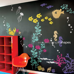 Under the Sea Wall Decal - Transform your baby nursery or kids playroom into an underwater aquarium. Our Under the Sea wall decal collection introduces your little one to the wonders of marine life.