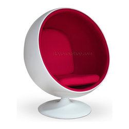 Ball Chair - Pink + Speaker - When sitting becomes more than a verb, when it is elevated to an actual experience, you know you have just been gifted an education from the genius that is Eero Aarnio. Certainly the Ball Chair is not for the faint of futuristic heart. Perhaps it would look more appropriate on a sci-fi flick sound stage than in your grandmother's living room; and that is exactly the point. The Ball Chair, crafted out of fiberglass, creates a personal bio-sphere - emphasis on sphere - right in the midst of your own household. Once you snuggle down into the Aarnio chair, it supports any manner of sitting positions. Imagine curling into such lush comfort on a rainy day with that book you've been meaning to finish for months. You might finish the entire series before your friends or family can entice you out again. And the best part? It comes in red, white, blue, and for the serious clean-cut rebel: HOT PINK!