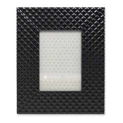 Lawrence Frames - 5x7 Provincial Diamond Pattern Black Picture Frame - Fabulous wide black patterned picture frame.   This is a gorgeous and elegant picture frame that will be a great decorative addition to any room.  Comes with a two way easel for vertical or horizontal table top display, and hangers for vertical or horizontal wall mounting.  High quality black velvet backing.  Picture frame comes with glass to protect your photo, and is individually boxed.