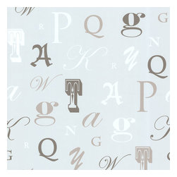 Manuscript Light Blue Letter Font Wallpaper. - A poetic fusion of haute couture and playful. This regal font wallpaper is graced with taupe, white and shimmering sterling letters on a pale blue background.