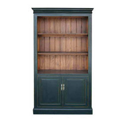 Golden Lotus - Black Bookcase Storage Chinese Display Cabinet - Look at this elegant display cabinet which is made of elm wood.  It has four shelves to display your statuses or vases.  It can be also used as bookcase cabinet. This bookcase also provides two doors of shelves for the storage.  It is perfect to put into your living room.
