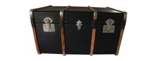 French Steamer Trunk - There are steel and brass rivets all alround to complete the industrial look with a primitive edge.  There are 5 chrome buckle closures all renewed with some good elbow grease.