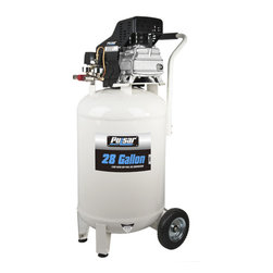 Pulsar - Pulsar Products 28-gallon Air Compressor - The Pulsar air conmpressor produces an impressive 115 PSI maximum air pressure to help get the job done. Designed with a compact handle and rolling wheels, this air compressor is easy to move around your home or shop.
