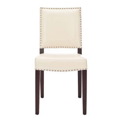 Benjamin Cream Leather Dining Chair - I love, love, love this chair! To me, it is the perfect blend of feminine and masculine qualities: dark paired with white, glitzy nail-head trim on creamy leather and straight lines matched with comfort.