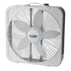 "Lasko Products - 20"" Box Fan WeatherShield Plus - Lasko 20"" Weather-Shield Premium Box Fan Plus with Patented  isolated Weather-Shield motor for worry-free window use; High performance grill for ultimate air flow; Three quiet speeds; Save-Smart Less than 2  per hour;  Top-mounted controls; Easy-carr"