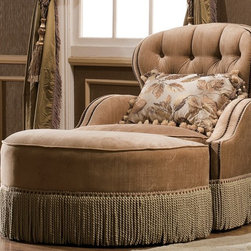 Franklin Accent Chair - Franklin occasional chair upholstered in high-grade European fabric.  Chair features tufted back design with down-blend cushion, brass nailhead trim, and surrounding skirt.