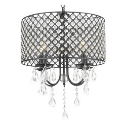 The Gallery - Fabric Shade 3-light Crystal chandelier Lighting - 100% crystal chandelier. A great European tradition. Nothing is quite as elegant as the fine crystal chandeliers that gave sparkle to brilliant evenings at palaces and manor houses across Europe. This beautiful chandelier has 4 lights and is decorated and draped with 100% crystal that captures and reflects the light of the candle bulbs. This wonderful chandelier also comes with the large shade as shown. The timeless elegance of this chandelier is sure to lend a special atmosphere anywhere its placed! Shade included. Assembly required.