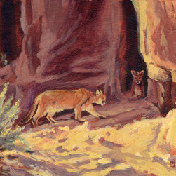 """Arizona Mountain Lions"" (Original) By Nancee Jean Busse - While Traveling In Arizona Last Year We Spied These Two Gorgeous Lions. Good Thing I Have Long Lens!! I Loved The Roses, Reds, And Warm Yellows Of This Lovely Scene."