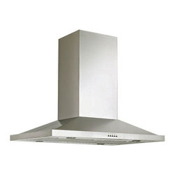 """36"""" Artisan Series Stainless Steel Island Range Hood - 600 CFM - With a simple design and a modern shape, this stainless steel range hood complements new and old kitchens alike. Made for use above a kitchen island stovetop."""