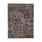 Patchwork Kilim Rug - A handmade 5'x8' overdyed patchwork kilim rug.