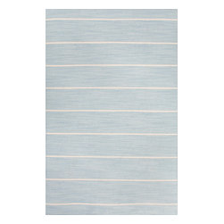 Jaipur Rugs - Flat-Weave Stripe Pattern Wool Blue/Ivory Area Rug (5 x 8) - Fashion-forward color and a soft texture highlight the relaxed sophistication of the Coastal Living Dhurries Collection. Ideal for any casual lifestyle, the boldly striped, flat-woven pieces are easily cleaned - ideal for lounging after a day spent at the beach.