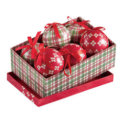 tag - Christmas Ornaments in a Box Set - Set of 6 ornaments in an attractive gift box makes a great holiday hostess gift! Each ornament is crafted from lacquered papier-mâché with attached red ribbon for hanging for a truly unique look. Set include 3 red and 3 green plaid ornaments.