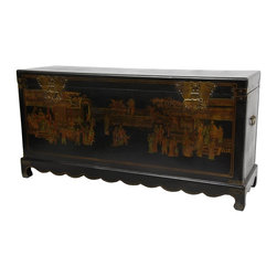 Oriental Furniture - Black Lacquer Daily Life Trunk - This imported Ming style blanket chest is finished with a medium gloss black lacquer and hand painted with a traditional Oriental village scene in muted, antiqued colors. This beautiful chest features lacquered brass butterfly hasps, and makes a wonderful room accent whether used as a traditional chest or an alternative coffee table.