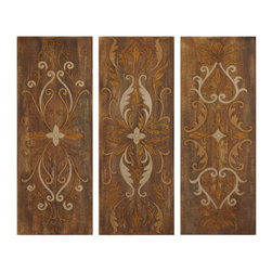 Uttermost - Uttermost 32169 Elegant Swirl Set of 3 Hand Painted Canvas Art Panels - Uttermost 32169 Grace Feyock Elegant Swirl Panels Set of 3 Wall ArtThese panels are hand painted on crackled canvas with an antiqued glaze. Canvas is stretched and mounted on hardboard. Due to the handcrafted nature of this artwork, each piece may have subtle differences.Features: