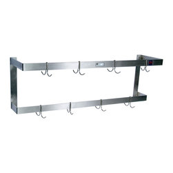 John Boos Commercial - Double-Bar Steel Wall-Mounted Pot Rack - 2-bar stainless steel pot rack for wall mounting. Made by John Boos. Comes in 8 lengths up to 10 feet. Number of hooks varies with length. Model PRW2.
