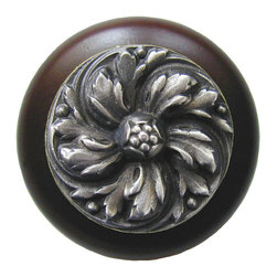 """Inviting Home - Chrysanthemum Walnut Wood Knob (antique pewter) - Chrysanthemum Walnut Wood Knob with hand-cast antique pewter insert; 1-1/2"""" diameter Product Specification: Made in the USA. Fine-art foundry hand-pours and hand finished hardware knobs and pulls using Old World methods. Lifetime guaranteed against flaws in craftsmanship. Exceptional clarity of details and depth of relief. All knobs and pulls are hand cast from solid fine pewter or solid bronze. The term antique refers to special methods of treating metal so there is contrast between relief and recessed areas. Knobs and Pulls are lacquered to protect the finish. Alternate finishes are available."""