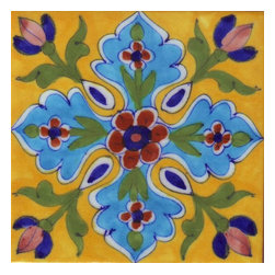 "Knobco - Tiles 4X4""Inch, Yellow Tiles With Red & Turquoise Flowers - Yellow Tiles With Red & Turquoise Flowers from Jaipur, India. Unique, hand painted tiles for your kitchen or  other tiling project. Tile is 4x4"" in size."