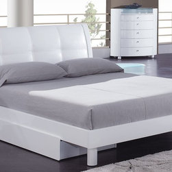 Global Furniture - Evelyn Platform Bed - White - 36159B - This platform bed is able to support a mattress without the use of a box spring, although can accommodate one if desired.