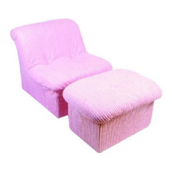 Fun Furnishings - Fun Furnishings Chenille Cloud Chair and Ottoman in Pink - Our unique cloud chair and ottoman offer kids a cushy, comfy place to hang out and read, listen to music or text message their friends. The high density foam offers long lasting comfort while being so light weight that it is easy to move it anywhere you like. Built-in durability. We've worked hard to make our furniture durable and help it retain its appearance. We use high-density foam to make the furniture hold up to the tough use it receives from kids. We include a layer of fiber on the seating surfaces to keep the fabric tight much longer.