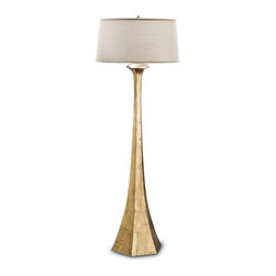 Kathy Kuo Home - Dorothy Hollywood Regency Gold Leaf Tapered Floor Lamp - Imagine a five-foot tall flute of effervescent champagne, glowing in your living room. Warm and welcoming, this long-stemmed gold floor lamp is shining celebration. A white drum shade floats atop the lamp like a crown of bubbles.