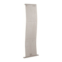 Hudson Reed - Silver Designer Wave Vertical Radiator Heater 63 x 18 With Free Valves - With an impressive heat output of 1,120 Watts (3,819 BTUs), this designer wave radiator, in a fashionable Matt Silver finish, is eye-catching, stylish and highly efficient, ensuring that your room is heated quickly.While the smooth, curving lines of this vertical designer radiator bring a touch of elegance to any living space, the silver radiator is highly functional, connecting directly into your domestic central heating system via Hudson Reed radiator valves included.Silver Designer Wave Radiator 63 x 18 Details  Dimensions: (H x W x D) 63 (1600mm) x 18 (460mm) x 4.3 (110mm) Output: 1,120 Watts (3,819 BTUs) Pipe centres with valves: 21.65 (550mm) Number of columns: 12 Designed to be plumbed into your central heating system Suitable for bathroom, cloakroom, kitchen etc. Please note: Angled radiator valves included  Buy now, to transform your living space, at an affordable price.5 year guarantee Please Note: Our radiators are designed for forced circulation closed loop systems only. They are not compatible with open loop, gravity hot water or steam systems.