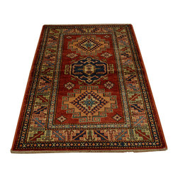 Geometric Design Super Kazak 3'x4' Hand Knotted 100% Wool Oriental Rug SH16698 - This collections consists of well known classical southwestern designs like Kazaks, Serapis, Herizs, Mamluks, Kilims, and Bokaras. These tribal motifs are very popular down in the South and especially out west.