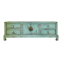 """China Furniture and Arts - Elmwood Kang Media Cabinet - A gorgeous distressed light cyan finish and simple straight-edge shape give this Ming style cabinet a unique appeal. Two doors reveal a center compartment measuring 32""""W x 19.5""""D  x 17""""H and one removable shelf, providing ample storage options. For additional storage capacity, there are four drawers with dimensions of 16""""W x 19.5""""D x 7""""H each. Hand-forged brassware.  Fully assembled. (Displayed accessories are not included)."""