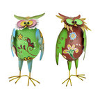 Pair of Colorful Metal Owl Statues with Spring Wings - This owl couple adds a colorful accent to your home, porch or patio. They are made of metal, have cheerful hand painted accents, and the head and wings are attached by springs, giving the owls a whimsical quality that is sure to be admired. The red and green owl measures 20 inches tall, 10 inches wide, 4 3/4 inches deep, and the green and blue owl is 16 inches tall, 7 3/4 inches wide, and 4 1/2 inches deep. This set is a great gift for a friend `whooo` collects owls.