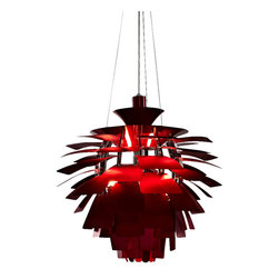 "LexMod - 28"" Artichoke Chandelier Lamp in Red - Elevate the heart and uplift the mind in a liberated release of light. The Artichoke Style Chandelier Modern Lamp is a study in perception stemming from the inner recesses of the soul. Reflect limitless possibilities and shower abundance as you diffuse light pleasantly with a striking classic for all times and settings."