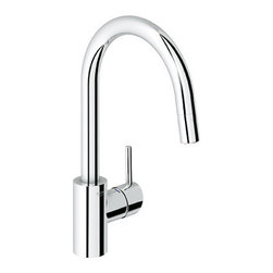 Grohe Single Handle Pull Down Dual Spray Kitchen Faucet - This very well priced single handle faucet has an integrated pull down spray and will work well in a contemporary kitchen design without breaking the bank.