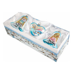 "Set of Three Hand Painted Glass Angel Christmas Ornaments w/ Gift Box - Measure 4""H x 13.5""L x 5""W and weighs 1.5 lbs. Invite the beauty of the season into your home with the G. DeBrekht collection of hand painted glass Christmas ornaments, inspired by an old Russian Fedoskino and Palekh Artistic technique. Decorating your Christmas tree is a special time for families, with G. DeBrekht ornaments you can choose your style and create a true gallery of art for your family to enjoy. G. DeBrekht fine art traditional, vintage style glass holiday ornaments are artistically hand painted with a combination of transparent and opaque paint for a realistic, deep iridescent lighting effect on each G. DeBrekht ornament. Each ornament is adorned with a miniature detailed Christmas scene, accented with touches of gold or silver, finished with a lovely satin ribbon and then placed in a luxurious satin lined box. In the spirit of giving, G. DeBrekht ornaments and decor also make beautiful Christmas and holiday gifts to share with loved ones. Every G. DeBrekht ornament and decoration is an original work of art sure to be cherished as a family tradition for generations to come. Some ornaments may have slight variations of the decoration on the ornament due to the hand painted nature of the product."
