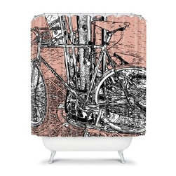 DENY Designs Romi Vega Bike Shower Curtain - The DENY Designs Romi Vega Bike Shower Curtain has a designer print that will be the envy of all of your friends. Perfect for bicycle enthusiasts, this woven polyester shower curtain takes a fun twist on an everyday item.About DENY DesignsDenver, Colorado based DENY Designs is a modern home furnishings company that believes in doing things differently. DENY encourages customers to make a personal statement with personal images or by selecting from the extensive gallery. The coolest part is that each purchase gives the super talented artists part of the proceeds. That allows DENY to support art communities all over the world while also spreading the creative love! Each DENY piece is custom created as it's ordered, instead of being held in a warehouse. A dye printing process is used to ensure colorfastness and durability that make these true heirloom pieces. From custom furniture pieces to textiles, everything made is unique and distinctively DENY.