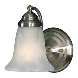 Golden Lighting - Centennial PW 1-Light Wall Sconce in Pewter - Bulb not included. Requires one 100 watt medium incandescent Type A bulb. Marbled glass shade. Can be mounted with the glass facing up or down. Flexible arms. Used in bath, foyer, kitchen, living and bedroom. Black and white wire gage. One E27 type porcelain socket in white. Electric wire gage: 18# 3321 150 degree C. Maximum wattage: 100W. Total wattage: 100W. Metallic finish. UL and CUL certified. UL listed for damp location. Made from metal and glass. Wire length: 8 in.. Fixture extension: 7 in.. Backplate extension: 1.37 in.. Canopy back plate: 5.12 in. Dia.. Glass: 5.5 in. Dia. x 5.25 in. H. Overall: 5.5 in. W x 8 in. H. Assembly Instructions. Warranty