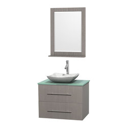 Wyndham Collection - 30 in. Single Bathroom Vanity in Gray Oak, Green Glass Countertop, Avalon White - Simplicity and elegance combine in the perfect lines of the Centra vanity by the Wyndham Collection . If cutting-edge contemporary design is your style then the Centra vanity is for you - modern, chic and built to last a lifetime. Available with green glass, pure white man-made stone, ivory marble or white carrera marble counters, with stunning vessel or undermount sink(s) and matching mirror(s). Featuring soft close door hinges, drawer glides, and meticulously finished with brushed chrome hardware. The attention to detail on this beautiful vanity is second to none.