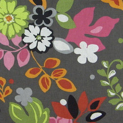 Braemore - Clarise Marzipan, Braemore Fabrics, Fabric By The Yard - Clarise Marzipan, by Braemore. is a 100% cotton, printed on a gray background, and the floral pattern is sage, chartreuse/lime green, hot pink, rose, red, black, white, and tangerine.