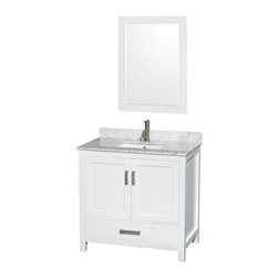 "Wyndham Collection - Wyndham Collection Sheffield 36"" White, White Carrera Marble, Square Sink - Wyndham Collection®"