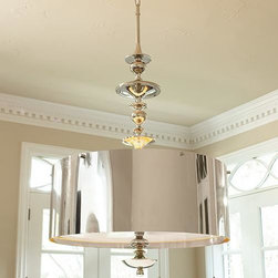 Global Views - Global Views Turned Pendant Chandelier in Nickel-Large - Large turned pendant chandelier in nickel by Global Views.