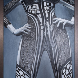 """Cedar Knolls - Show Room - A commissioned study of an Alexander McQueen body suit for designer show room. 30""""x48"""". Brushed metal frame. Oil on canvas."""