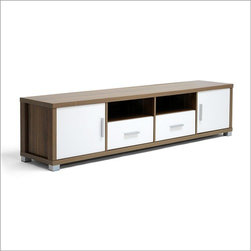 """Wholesale Interiors - Baxton Studio 71"""" TV Stand - This striking, contemporary TV stand makes a trendy statement for any room of your home. The Chisholm TV Stand does just this as the centerpiece of your living area! The unit is made of single ply fiberboard backing featuring 2 holes for easy cable management. Silver handles and feet finish off the modern design. Features: -Baxton Studio collection. -Material: MDF wood. -2 Drawers, 2 doors, and 2 open storage compartments. -Matte silver handles and feet. -Wipe clean with a dry cloth."""