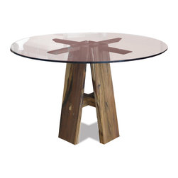 Renzo Table - Shown with glass top. Available in any size, any material top.