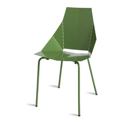 Blu Dot - Blu Dot Real Good Chair, Green - Thin is in. Powder-coated steel ships flat and folds along laser-cut lines to create a dynamic and comfortable chair. As skinny as a supermodel yet far more sturdy. Available in aqua, ivory and white with gray legs or four glossy tone-on tone colors: black, green, humble red or navy. Also available in copper.Powder-coated steel seat & back, Painted carbon steel legs