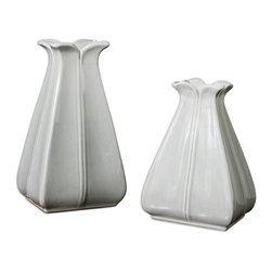 Uttermost - Florina Vases Set of 2 - On your sideboard, end table or kitchen table, this simply gorgeous set of vases is all about making the flower the star. Try dried herbs, fresh or dried flowers. Even empty, the lovely shapes and glossy pale gray finish make a great accent.