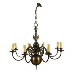 European 1940 Brass Chandelier - European 1940 Brass Chandelier