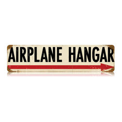 Airplane Hangar Metal Sign Wall Decor 20 x 5 - Airplane Hangar Metal Sign Wall Decor This Airplane Hangar vintage metal sign measures 20 inches by 5 inches and weighs in at 1 lb(s). This vintage metal sign is hand made in the USA using heavy gauge american steel and a process known as sublimation, where the image is baked into a powder coating for a durable and long lasting finish. It then undergoes a vintaging process by hand to give it an aged look and feel. This vintage metal sign is drilled and riveted for easy hanging.