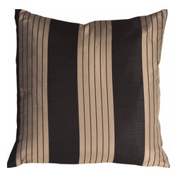 Pillow Decor - Pillow Decor - Contemporary Stripes in Black and Beige Throw Pillow - This elegant striped throw pillow will add a classy and sophisticated touch to your space. A shimmery black background fabric with espresso brown undertones contrasts beautifully along side the soothing tone of the coffee cream stripes. A direct fabric match to the Contemporary Stripes in Black and Beige Throw Pillow also from Pillow Decor.