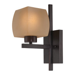 Lite Source - Lite Source LS-16481 Solo 1 Light Swing Arm Lights/Wall Lamps in Dark Bronze - Wall Lamp, Dark Bronze/Glass Shade, E27 Type A 60W