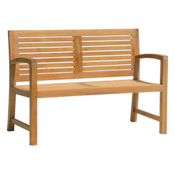 AquaTeak - 5' SOLID TEAK OUTDOOR BENCH - FROM THE AQUA HORIZON COLLECTION - The contemporary design of this beautiful 5-foot solid teak patio bench makes it perfect for use as a functional and beautiful décor element in any location around your home. Whether placed indoors or outdoors, you'll love this large teak bench from Aqua Teak's Aqua Horizon Collection. Naturally water resistant, the patio bench was handcrafted using highly durable solid teak wood and will hold up exceptionally well over time. All Aqua Teak products come with a 30 day satisfaction guarantee and 5 year warranty! (Some assembly required)